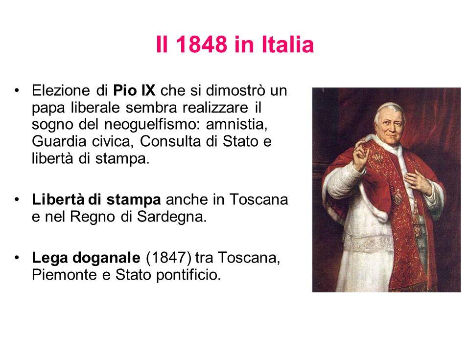 Il 1848 in Italia Elezione di Pio IX che si dimostrò un papa liberale sembra realizzare il sogno del neoguelfismo: amnistia, Guardia civica, Consulta