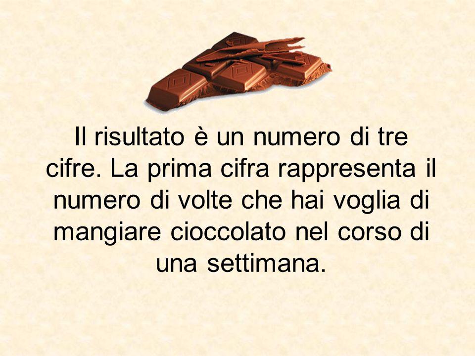 Il risultato è un numero di tre cifre. La prima cifra rappresenta il numero di volte che hai voglia di mangiare cioccolato nel corso di una settimana.