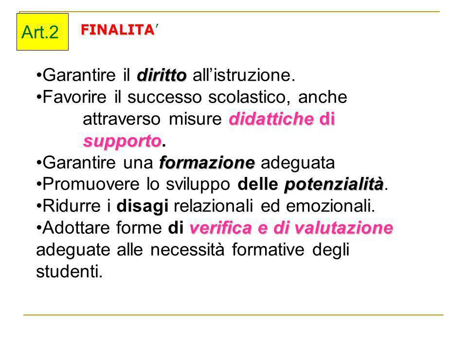 FINALITA Art.2 dirittoGarantire il diritto allistruzione. Favorire il successo scolastico, anche didattiche di supporto attraverso misure didattiche d