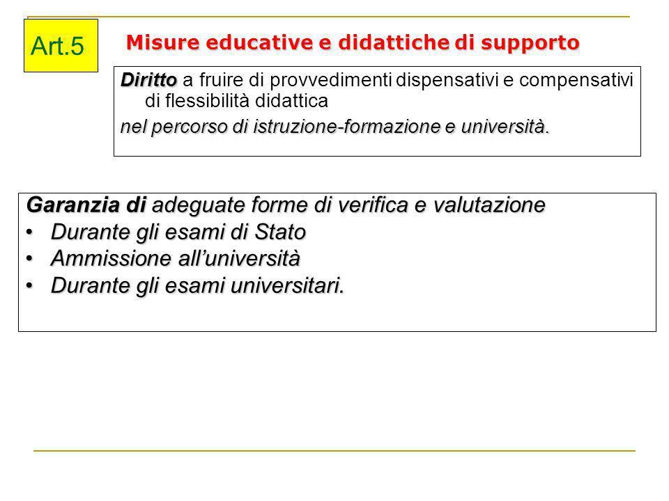 Misure educative e didattiche di supporto Diritto Diritto a fruire di provvedimenti dispensativi e compensativi di flessibilità didattica nel percorso