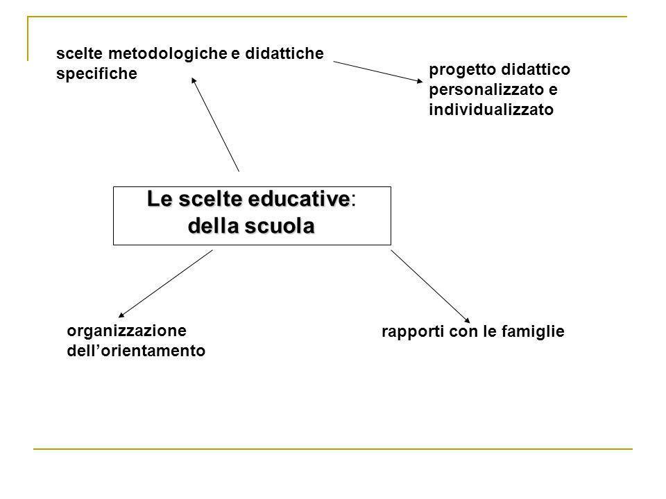 Le scelte educative Le scelte educative: della scuola scelte metodologiche e didattiche specifiche progetto didattico personalizzato e individualizzat
