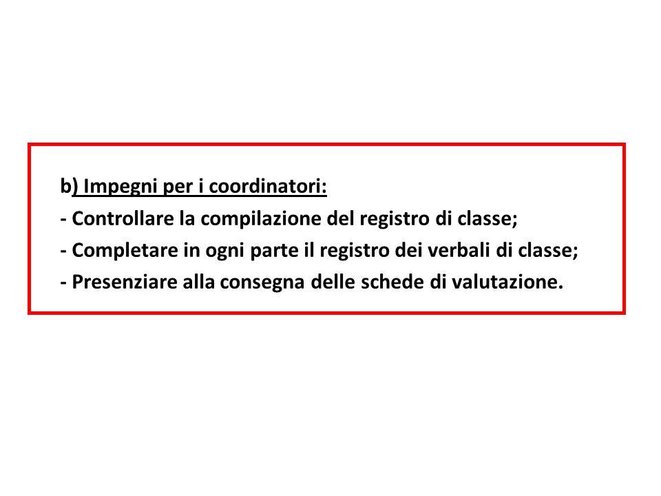 b) Impegni per i coordinatori: - Controllare la compilazione del registro di classe; - Completare in ogni parte il registro dei verbali di classe; - P