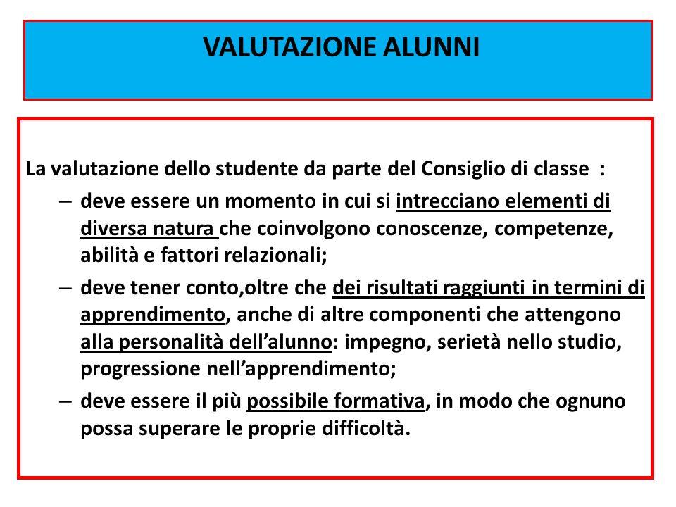 VALUTAZIONE ALUNNI La valutazione dello studente da parte del Consiglio di classe : – deve essere un momento in cui si intrecciano elementi di diversa
