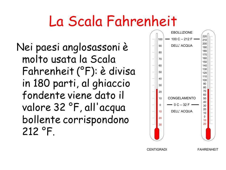 La Scala Fahrenheit Nei paesi anglosassoni è molto usata la Scala Fahrenheit (°F): è divisa in 180 parti, al ghiaccio fondente viene dato il valore 32 °F, all acqua bollente corrispondono 212 °F.