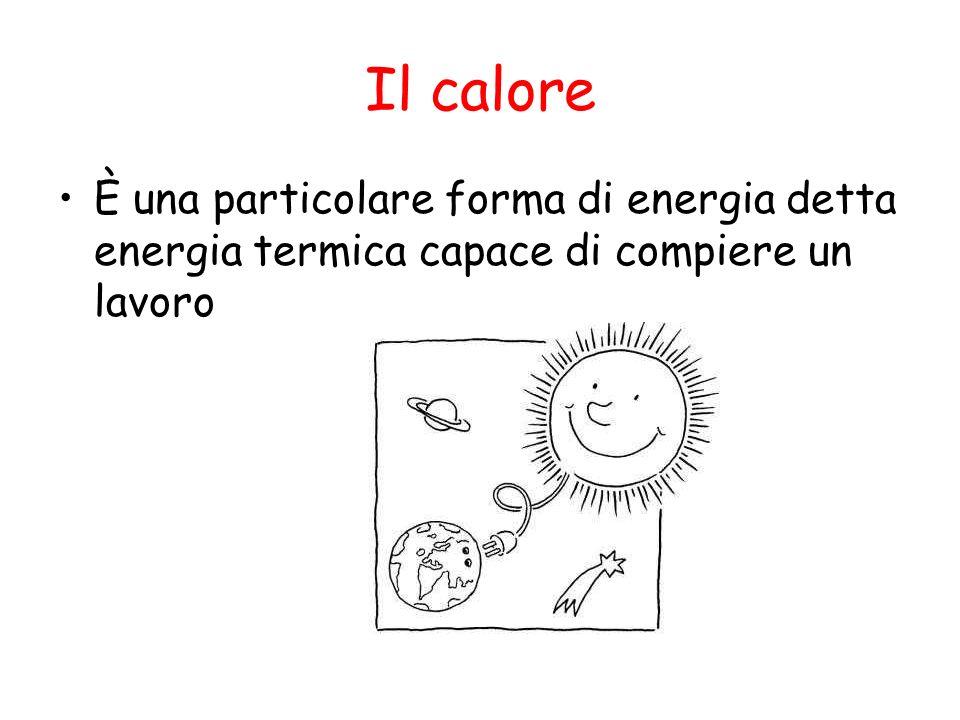 Il calore È una particolare forma di energia detta energia termica capace di compiere un lavoro