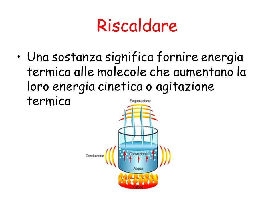 Riscaldare Una sostanza significa fornire energia termica alle molecole che aumentano la loro energia cinetica o agitazione termica