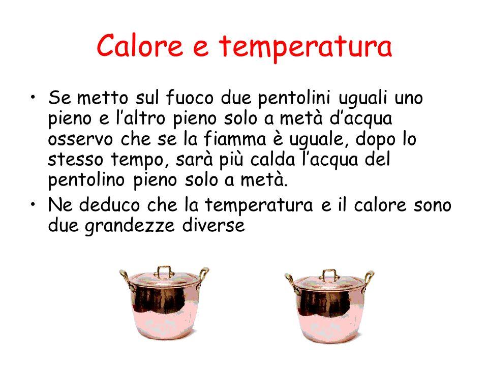 Calore e temperatura Se metto sul fuoco due pentolini uguali uno pieno e laltro pieno solo a metà dacqua osservo che se la fiamma è uguale, dopo lo st