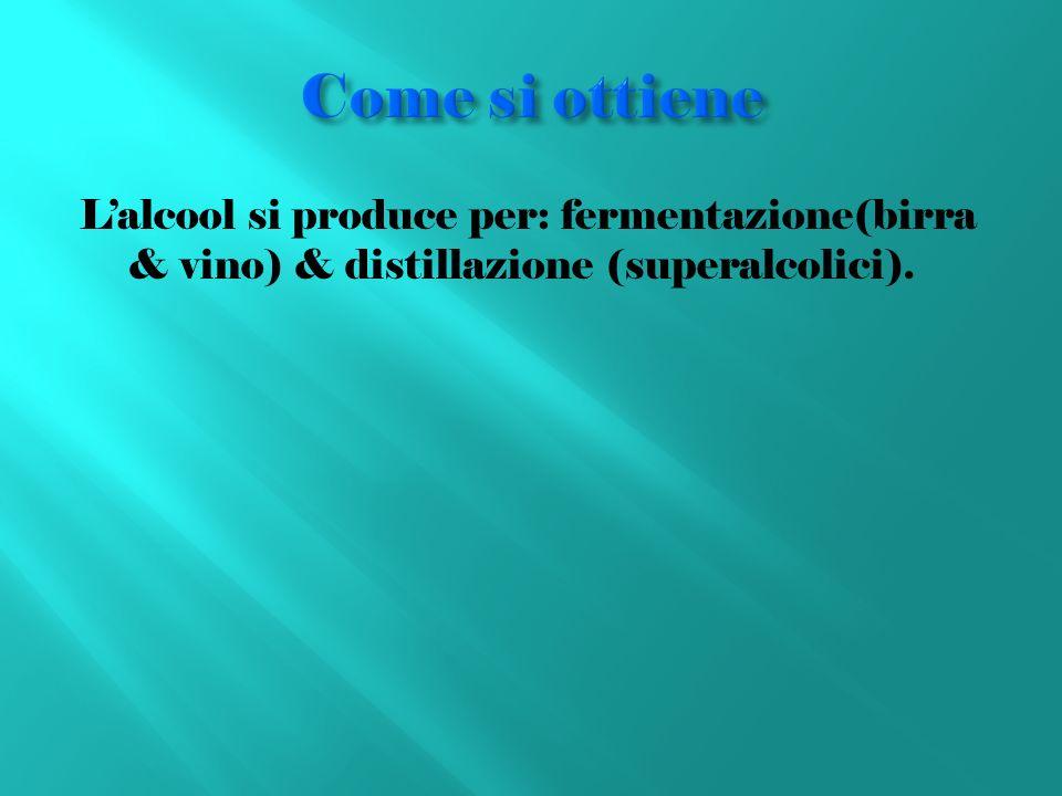 Lalcool si produce per: fermentazione(birra & vino) & distillazione (superalcolici).