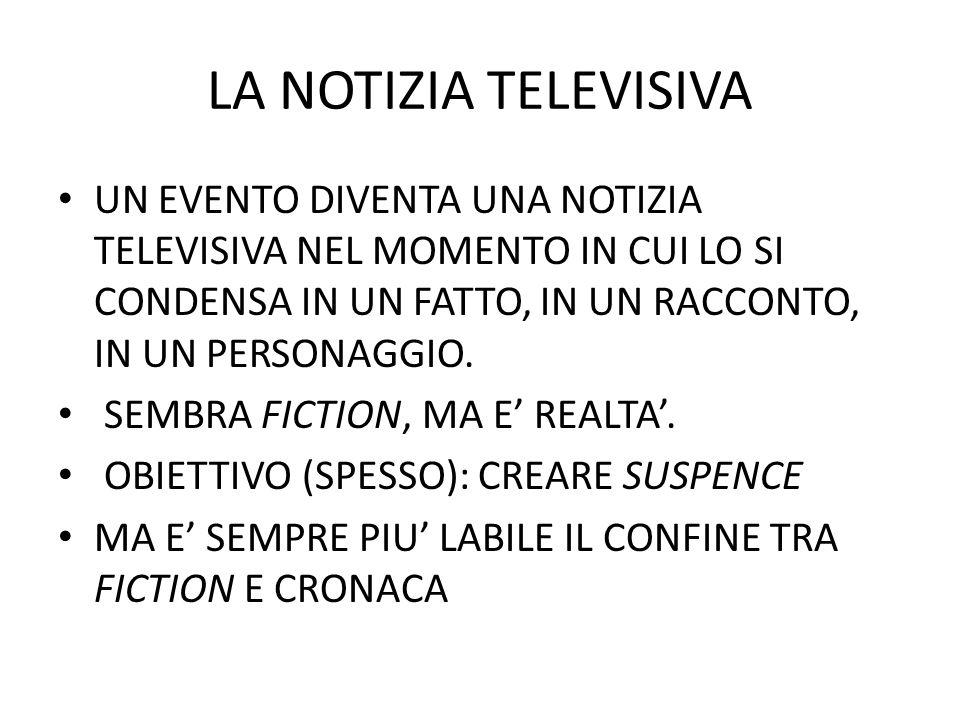 LA NOTIZIA TELEVISIVA UN EVENTO DIVENTA UNA NOTIZIA TELEVISIVA NEL MOMENTO IN CUI LO SI CONDENSA IN UN FATTO, IN UN RACCONTO, IN UN PERSONAGGIO.