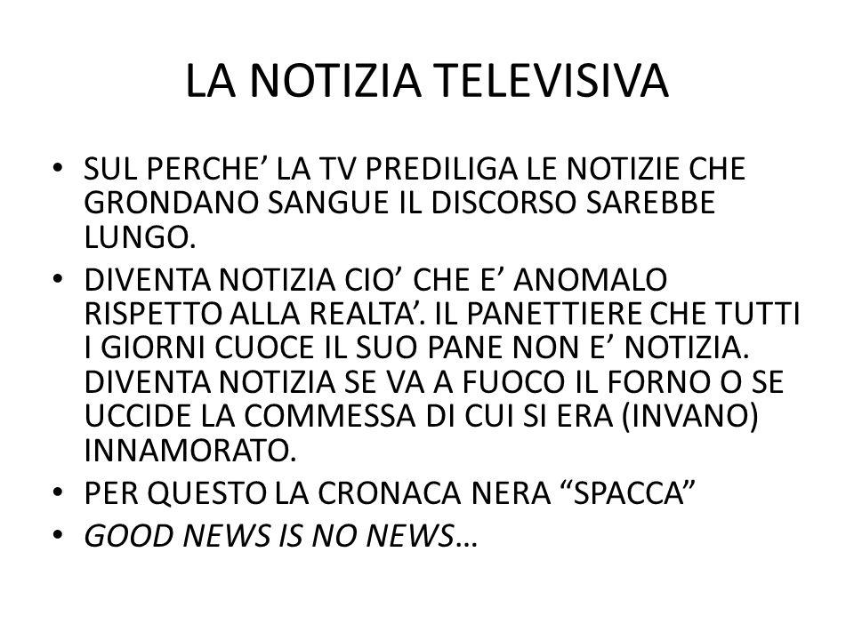 LA NOTIZIA TELEVISIVA SUL PERCHE LA TV PREDILIGA LE NOTIZIE CHE GRONDANO SANGUE IL DISCORSO SAREBBE LUNGO.