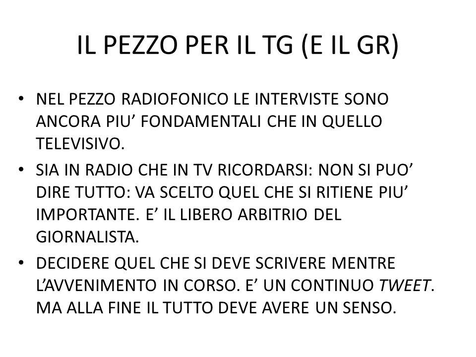 IL PEZZO PER IL TG (E IL GR) NEL PEZZO RADIOFONICO LE INTERVISTE SONO ANCORA PIU FONDAMENTALI CHE IN QUELLO TELEVISIVO. SIA IN RADIO CHE IN TV RICORDA