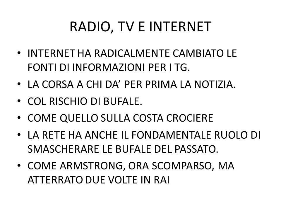 RADIO, TV E INTERNET INTERNET HA RADICALMENTE CAMBIATO LE FONTI DI INFORMAZIONI PER I TG. LA CORSA A CHI DA PER PRIMA LA NOTIZIA. COL RISCHIO DI BUFAL