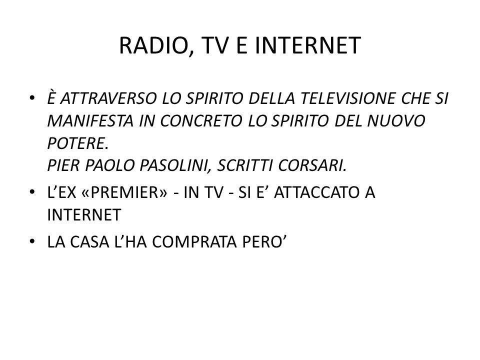 RADIO, TV E INTERNET È ATTRAVERSO LO SPIRITO DELLA TELEVISIONE CHE SI MANIFESTA IN CONCRETO LO SPIRITO DEL NUOVO POTERE. PIER PAOLO PASOLINI, SCRITTI