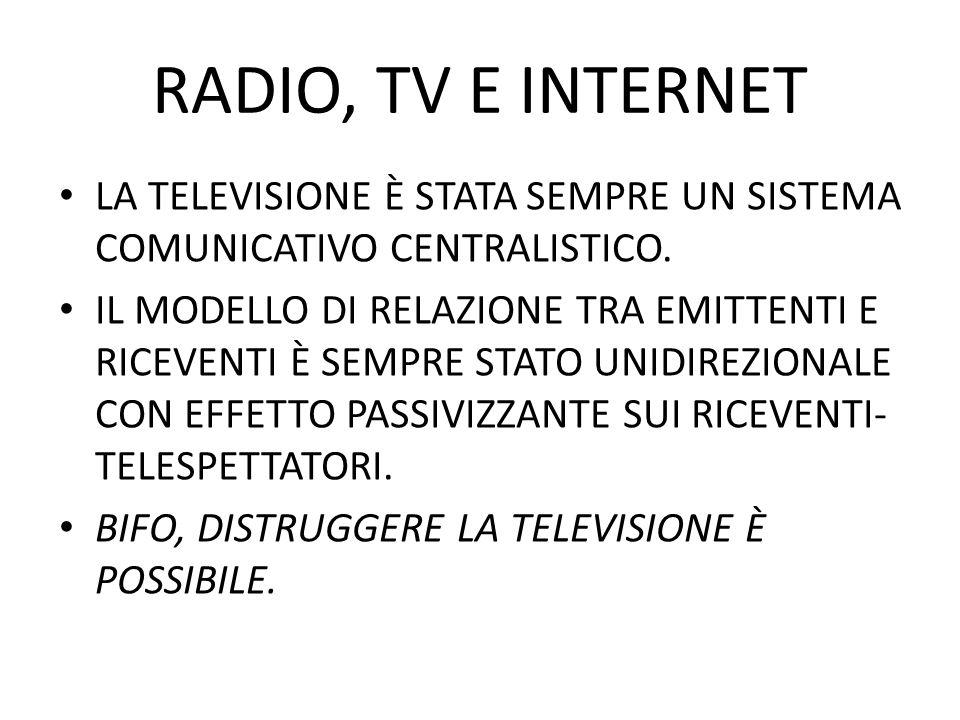 RADIO, TV E INTERNET LA TELEVISIONE È STATA SEMPRE UN SISTEMA COMUNICATIVO CENTRALISTICO. IL MODELLO DI RELAZIONE TRA EMITTENTI E RICEVENTI È SEMPRE S