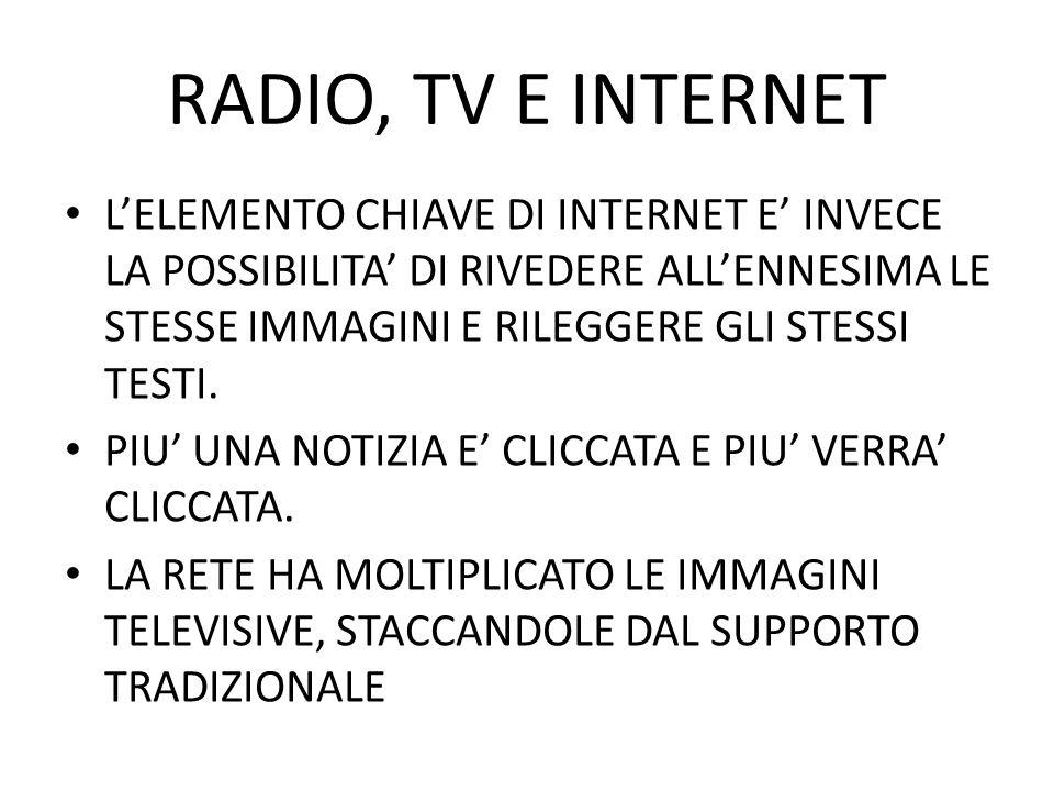 RADIO, TV E INTERNET LELEMENTO CHIAVE DI INTERNET E INVECE LA POSSIBILITA DI RIVEDERE ALLENNESIMA LE STESSE IMMAGINI E RILEGGERE GLI STESSI TESTI. PIU