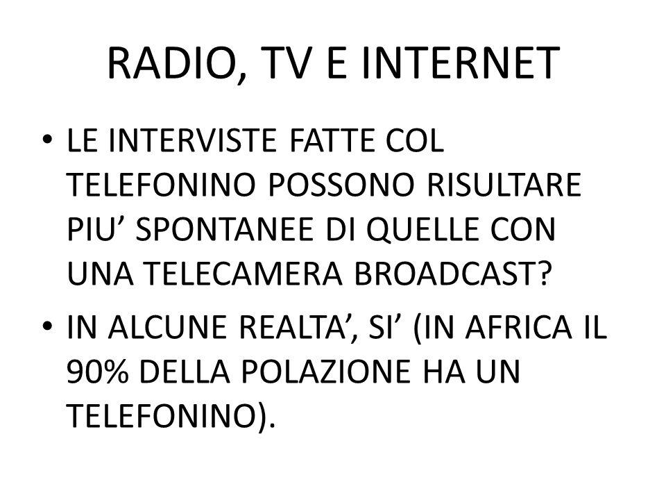 RADIO, TV E INTERNET LE INTERVISTE FATTE COL TELEFONINO POSSONO RISULTARE PIU SPONTANEE DI QUELLE CON UNA TELECAMERA BROADCAST? IN ALCUNE REALTA, SI (