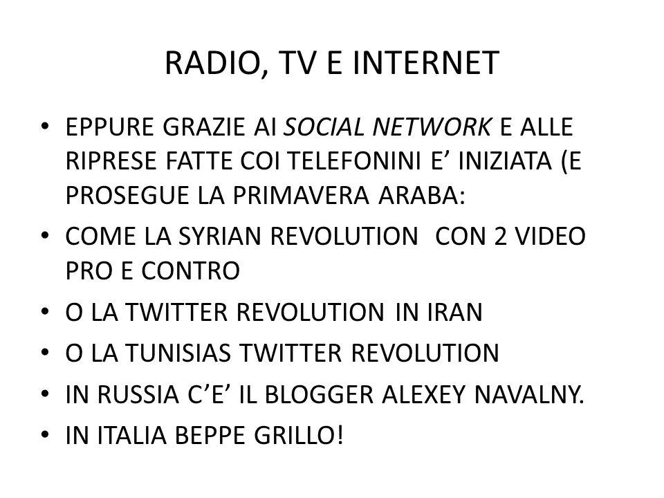 RADIO, TV E INTERNET INTERNET HA RADICALMENTE CAMBIATO LE FONTI DI INFORMAZIONI PER I TG.