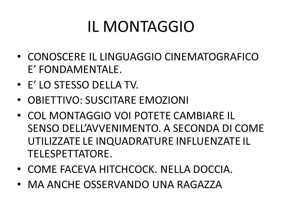 IL MONTAGGIO CONOSCERE IL LINGUAGGIO CINEMATOGRAFICO E FONDAMENTALE. E LO STESSO DELLA TV. OBIETTIVO: SUSCITARE EMOZIONI COL MONTAGGIO VOI POTETE CAMB