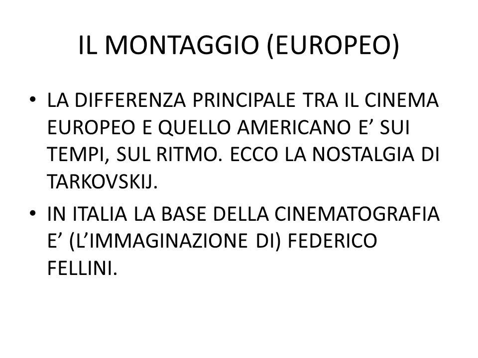 IL MONTAGGIO (EUROPEO) LA DIFFERENZA PRINCIPALE TRA IL CINEMA EUROPEO E QUELLO AMERICANO E SUI TEMPI, SUL RITMO.
