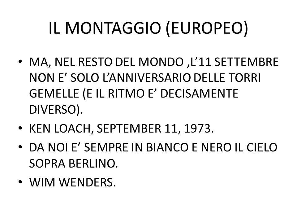 IL MONTAGGIO (EUROPEO) MA, NEL RESTO DEL MONDO,L11 SETTEMBRE NON E SOLO LANNIVERSARIO DELLE TORRI GEMELLE (E IL RITMO E DECISAMENTE DIVERSO).