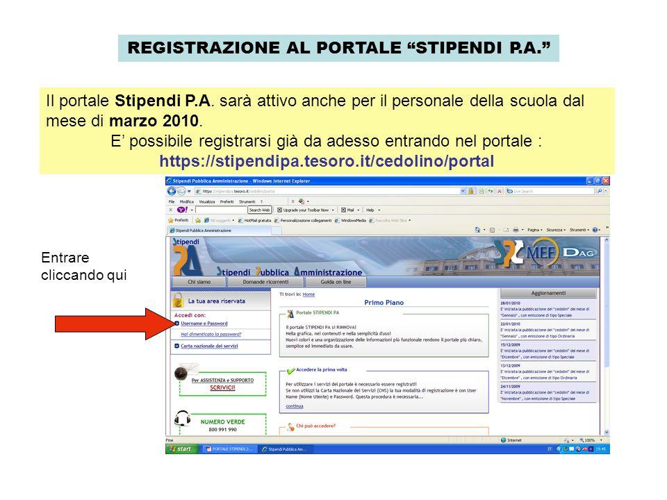 REGISTRAZIONE AL PORTALE STIPENDI P.A. Il portale Stipendi P.A. sarà attivo anche per il personale della scuola dal mese di marzo 2010. E possibile re