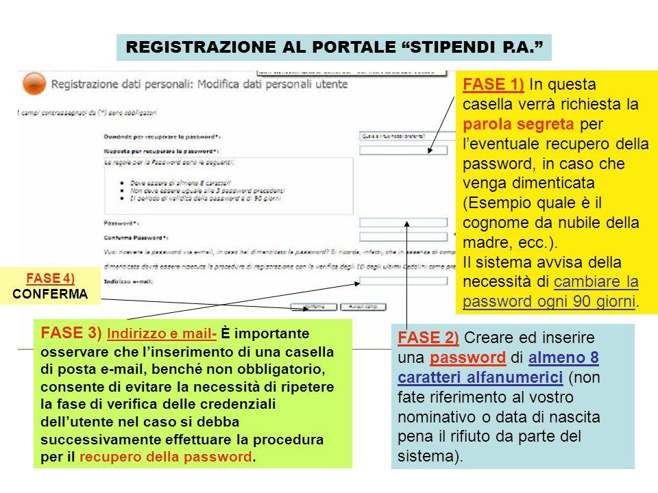 REGISTRAZIONE AL PORTALE STIPENDI P.A. FASE 2) Creare ed inserire una password di almeno 8 caratteri alfanumerici (non fate riferimento al vostro nomi