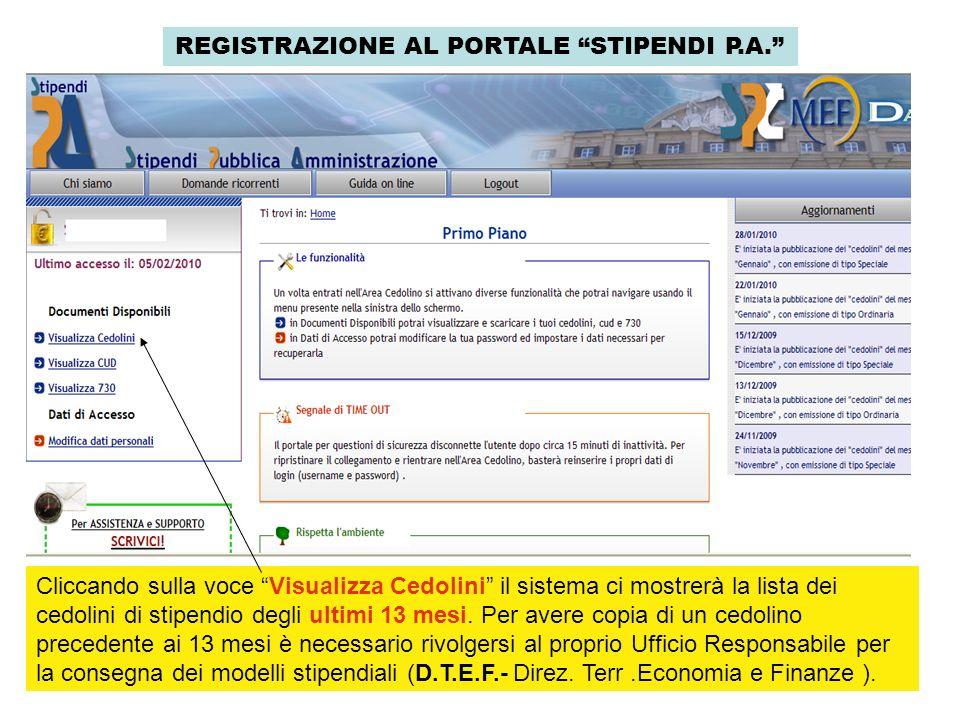 REGISTRAZIONE AL PORTALE STIPENDI P.A. Cliccando sulla voce Visualizza Cedolini il sistema ci mostrerà la lista dei cedolini di stipendio degli ultimi