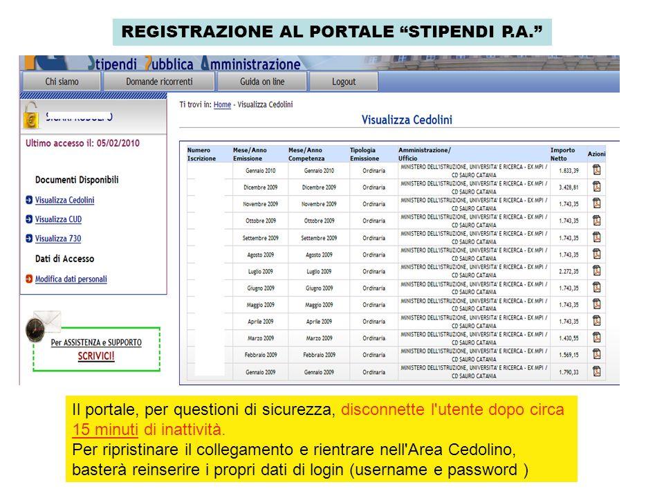 REGISTRAZIONE AL PORTALE STIPENDI P.A. Il portale, per questioni di sicurezza, disconnette l'utente dopo circa 15 minuti di inattività. Per ripristina