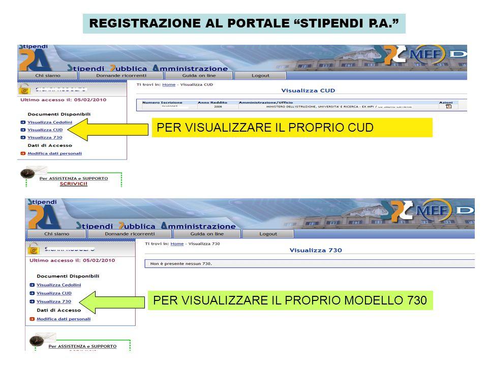 REGISTRAZIONE AL PORTALE STIPENDI P.A. PER VISUALIZZARE IL PROPRIO CUD PER VISUALIZZARE IL PROPRIO MODELLO 730
