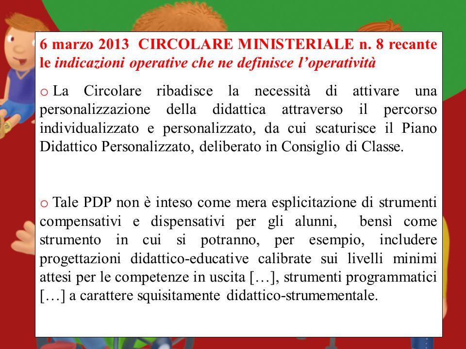 6 marzo 2013 CIRCOLARE MINISTERIALE n. 8 recante le indicazioni operative che ne definisce loperatività o La Circolare ribadisce la necessità di attiv