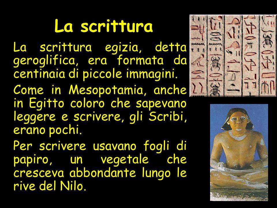 La scrittura La scrittura egizia, detta geroglifica, era formata da centinaia di piccole immagini.