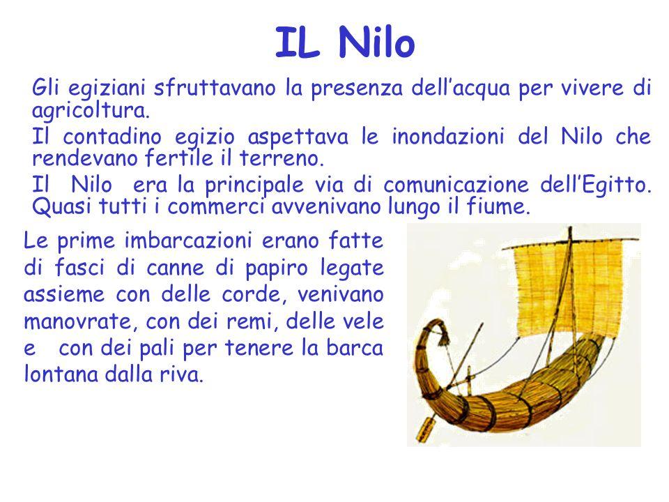 IL Nilo Gli egiziani sfruttavano la presenza dellacqua per vivere di agricoltura.