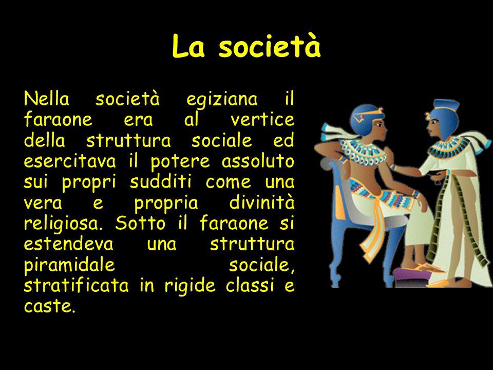 La società Nella società egiziana il faraone era al vertice della struttura sociale ed esercitava il potere assoluto sui propri sudditi come una vera e propria divinità religiosa.
