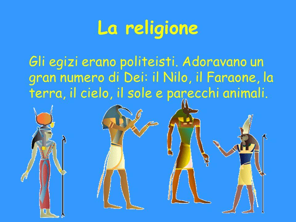 La religione Gli egizi erano politeisti.
