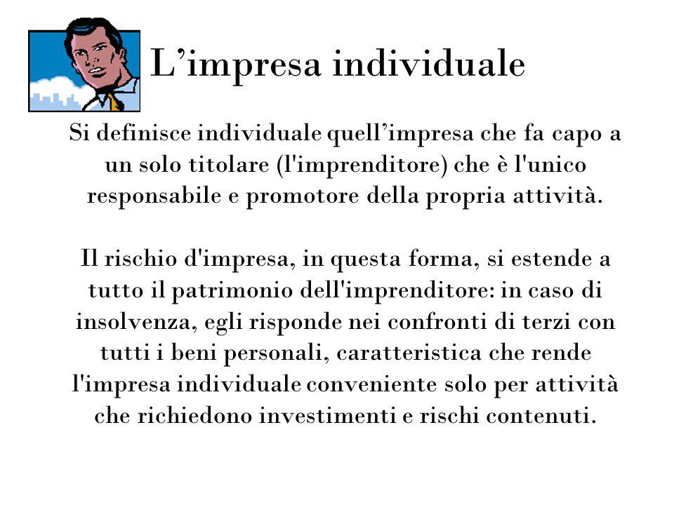 Limpresa individuale Si definisce individuale quellimpresa che fa capo a un solo titolare (l'imprenditore) che è l'unico responsabile e promotore dell