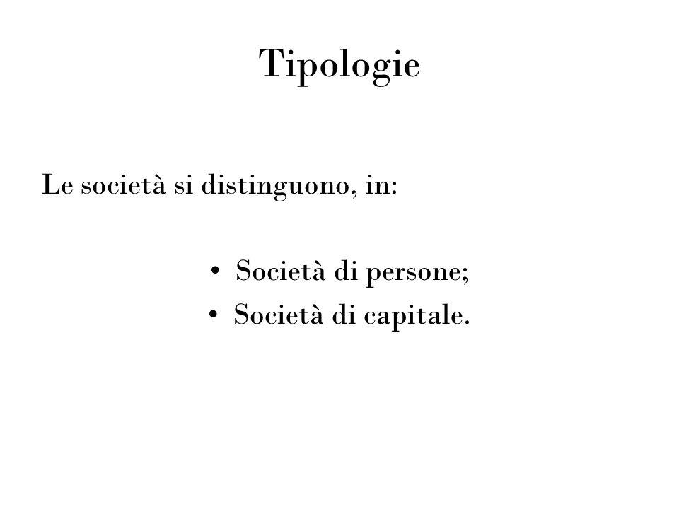 Tipologie Le società si distinguono, in: Società di persone; Società di capitale.