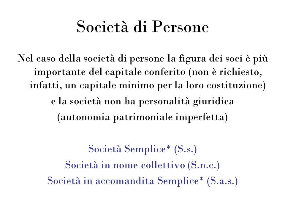Società di Persone Nel caso della società di persone la figura dei soci è più importante del capitale conferito (non è richiesto, infatti, un capitale