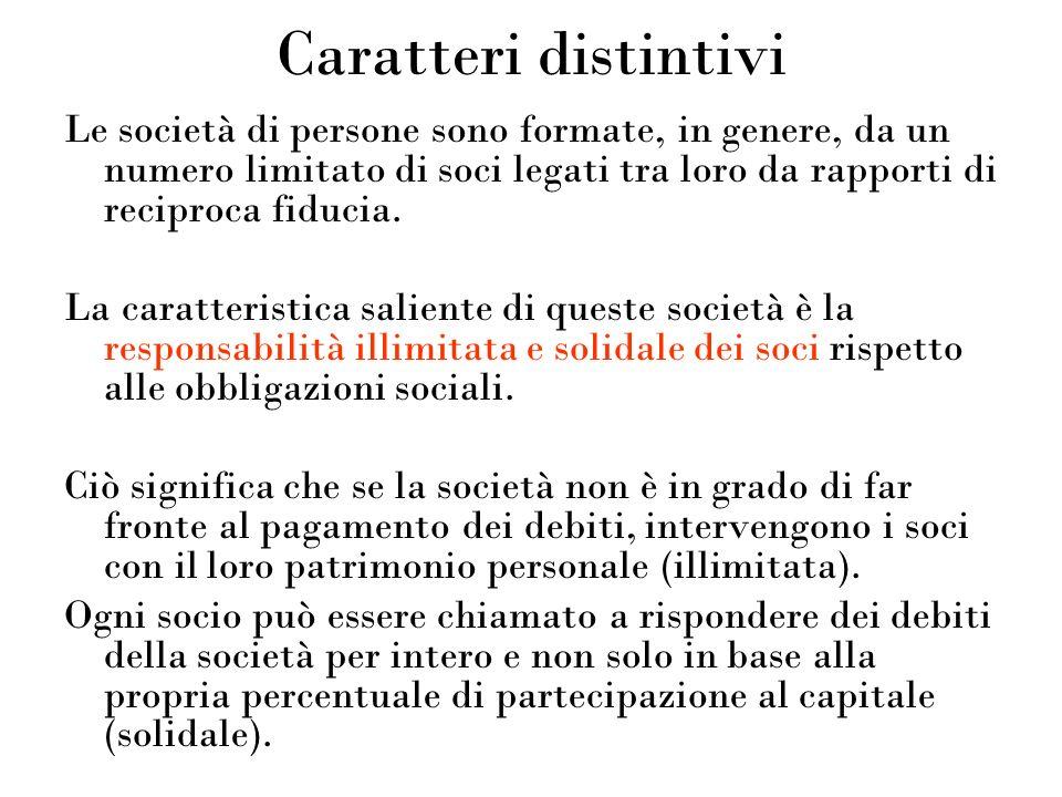 Caratteri distintivi Le società di persone sono formate, in genere, da un numero limitato di soci legati tra loro da rapporti di reciproca fiducia. La