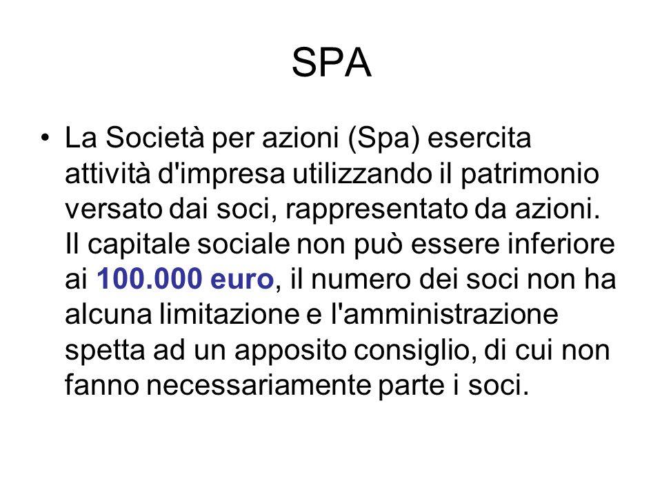 SPA La Società per azioni (Spa) esercita attività d'impresa utilizzando il patrimonio versato dai soci, rappresentato da azioni. Il capitale sociale n