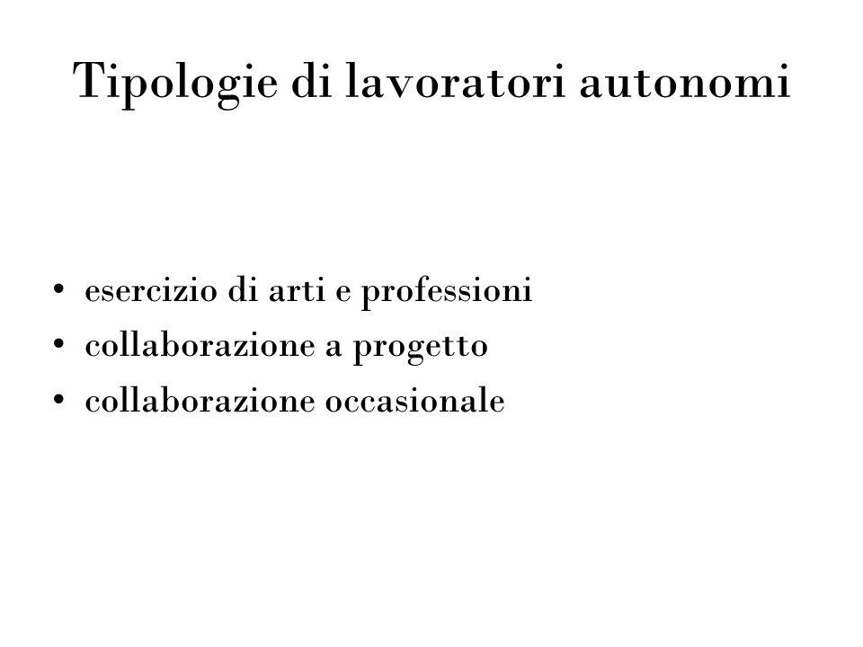 Tipologie di lavoratori autonomi esercizio di arti e professioni collaborazione a progetto collaborazione occasionale