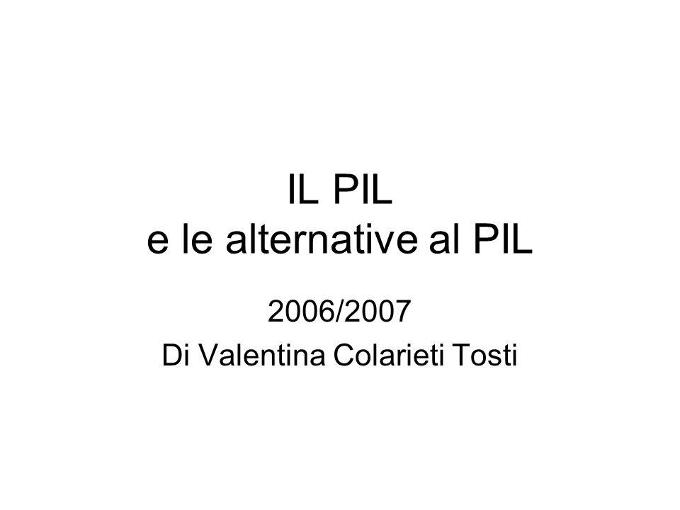 IL PIL e le alternative al PIL 2006/2007 Di Valentina Colarieti Tosti