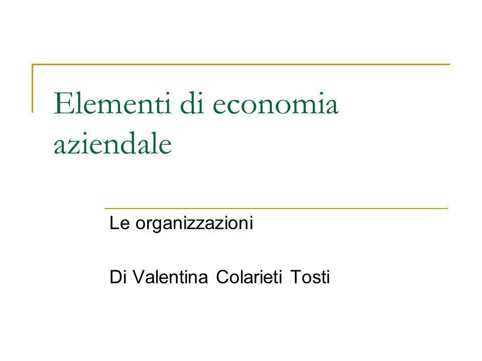 Le organizzazioni Elementi costitutivi Classificazione