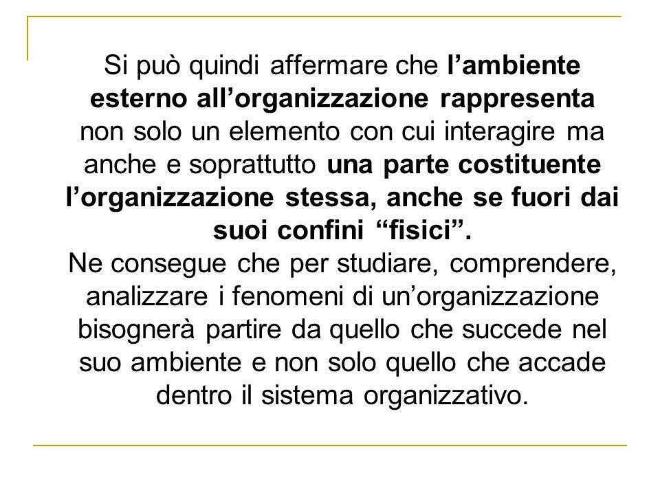 Si può quindi affermare che lambiente esterno allorganizzazione rappresenta non solo un elemento con cui interagire ma anche e soprattutto una parte c
