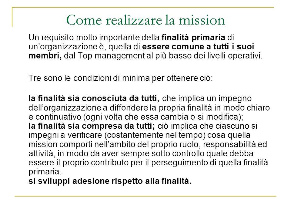 Come realizzare la mission Un requisito molto importante della finalità primaria di unorganizzazione è, quella di essere comune a tutti i suoi membri,
