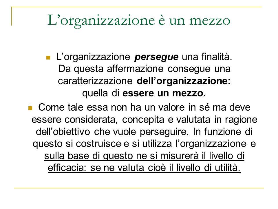 Lorganizzazione è un mezzo Lorganizzazione persegue una finalità.