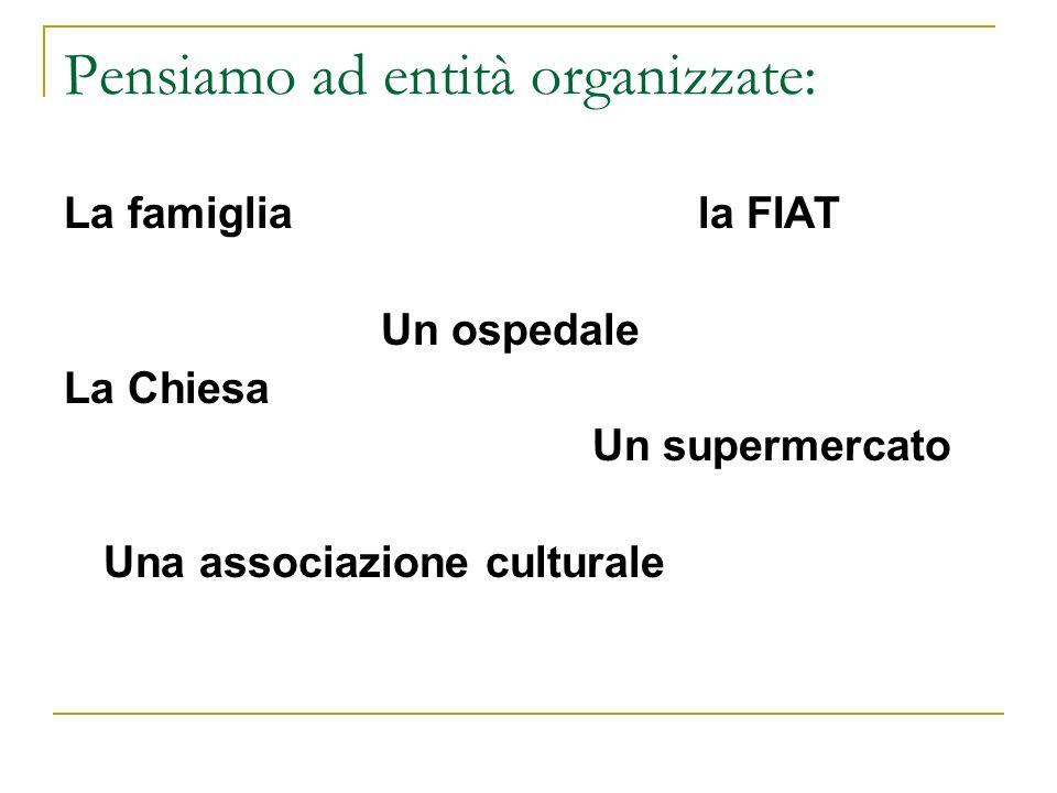 Pensiamo ad entità organizzate: La famigliala FIAT Un ospedale La Chiesa Un supermercato Una associazione culturale