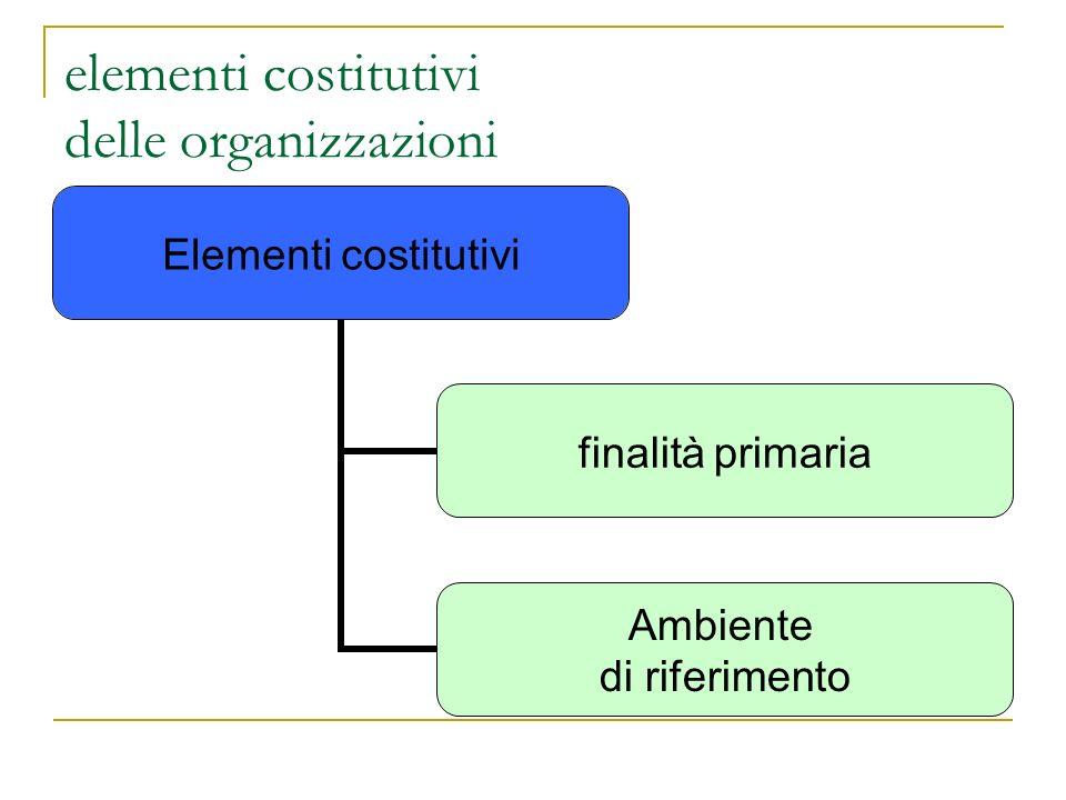 elementi costitutivi delle organizzazioni Elementi costitutivi finalità primaria Ambiente di riferimento