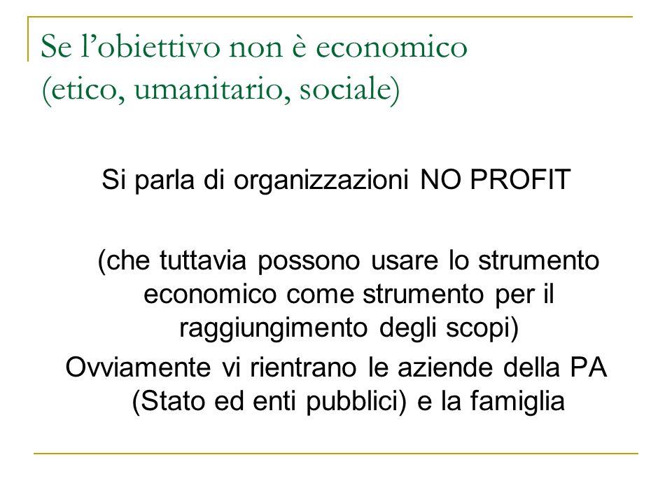 Se lobiettivo non è economico (etico, umanitario, sociale) Si parla di organizzazioni NO PROFIT (che tuttavia possono usare lo strumento economico com