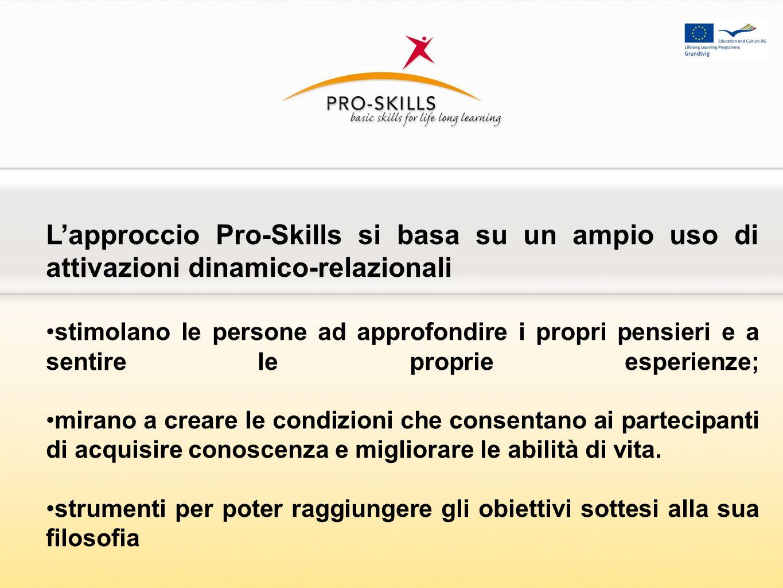 Lapproccio Pro-Skills si basa su un ampio uso di attivazioni dinamico-relazionali stimolano le persone ad approfondire i propri pensieri e a sentire l
