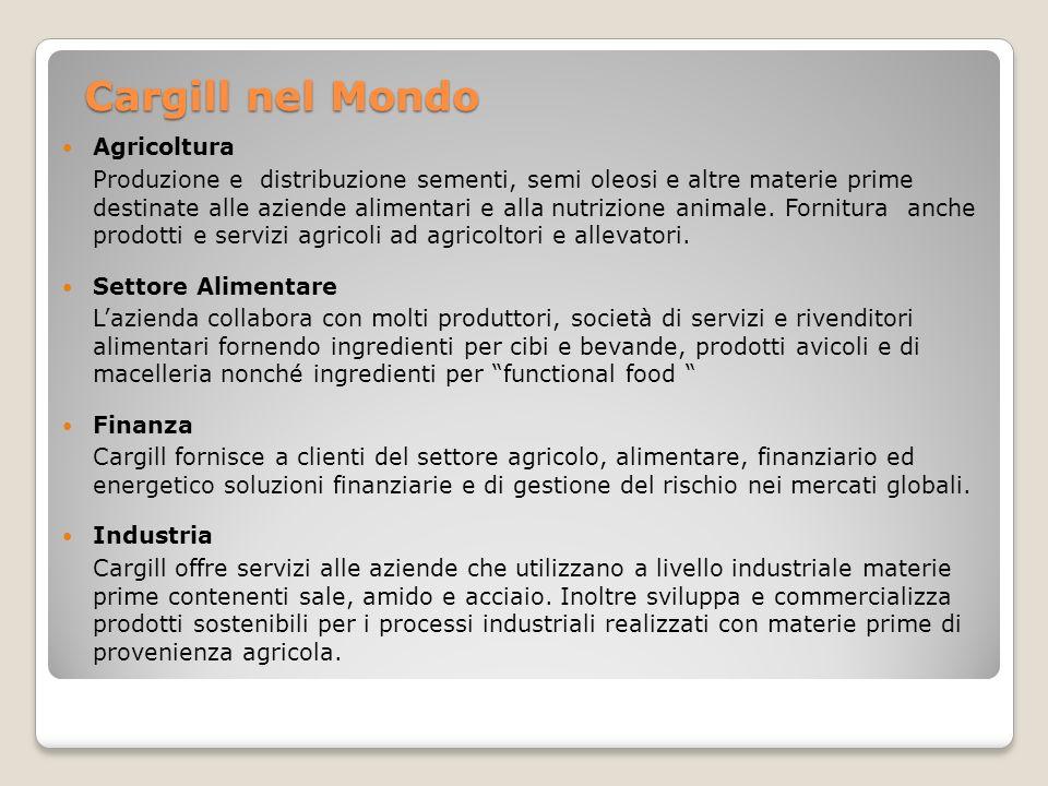 Cargill nel Mondo Agricoltura Produzione e distribuzione sementi, semi oleosi e altre materie prime destinate alle aziende alimentari e alla nutrizion